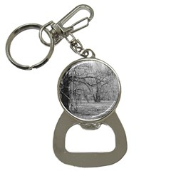 Black and White Forest Key Chain with Bottle Opener