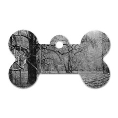 Black and White Forest Single-sided Dog Tag (Bone)