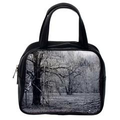 Black and White Forest Single-sided Satchel Handbag