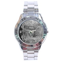 Black and White Forest Stainless Steel Analogue Watch (Round)