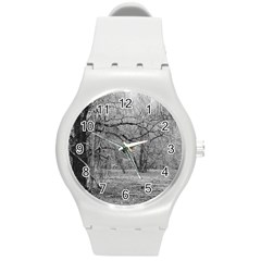 Black and White Forest Round Plastic Sport Watch Medium