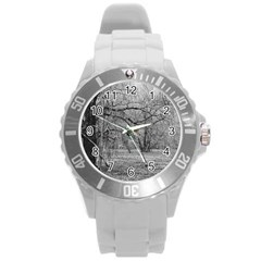 Black And White Forest Round Plastic Sport Watch Large