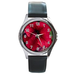 Red Peonies Black Leather Watch (Round)