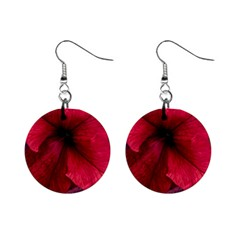 Red Peonies Mini Button Earrings