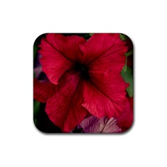 Red Peonies Rubber Drinks Coaster (Square)