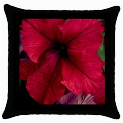 Red Peonies Black Throw Pillow Case