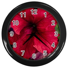 Red Peonies Black Wall Clock