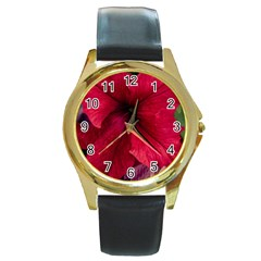 Red Peonies Black Leather Gold Rim Watch (round)
