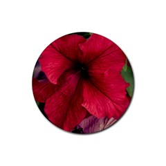 Red Peonies 4 Pack Rubber Drinks Coaster (Round)