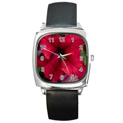 Red Peonies Black Leather Watch (Square)