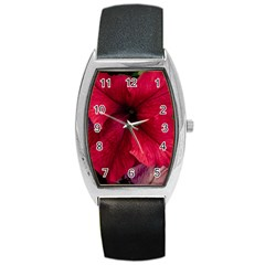 Red Peonies Black Leather Watch (Tonneau)