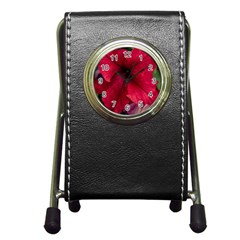Red Peonies Stationery Holder Clock