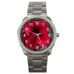 Red Peonies Stainless Steel Sports Watch (Round)
