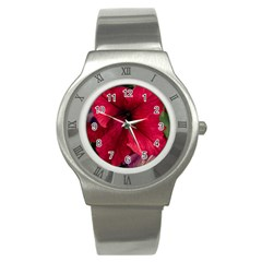 Red Peonies Stainless Steel Watch (round)