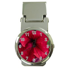 Red Peonies Chrome Money Clip with Watch