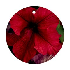 Red Peonies Twin Sided Ceramic Ornament (round)