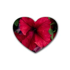 Red Peonies Rubber Drinks Coaster (Heart)