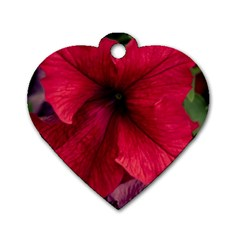 Red Peonies Single-sided Dog Tag (Heart)