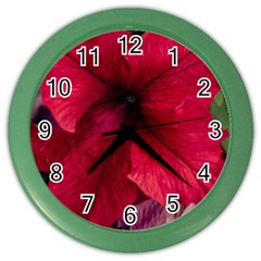 Red Peonies Colored Wall Clock