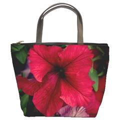 Red Peonies Bucket Handbag