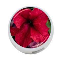 Red Peonies Twin-sided 4 Port USB Hub (Round)