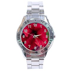 Red Peonies Stainless Steel Analogue Watch (Round)