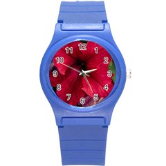 Red Peonies Round Plastic Sport Watch Small