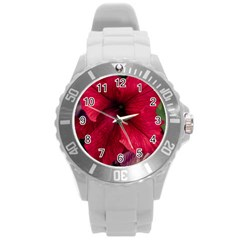 Red Peonies Round Plastic Sport Watch Large