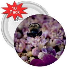 Flying Bumble Bee 10 Pack Large Button (Round)