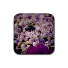 Flying Bumble Bee 4 Pack Rubber Drinks Coaster (Square)