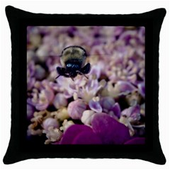 Flying Bumble Bee Black Throw Pillow Case