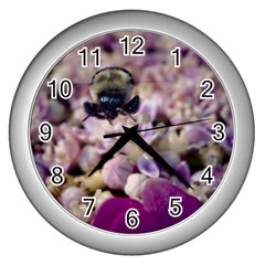 Flying Bumble Bee Silver Wall Clock