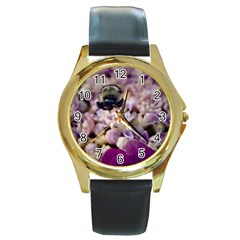 Flying Bumble Bee Black Leather Gold Rim Watch (round)