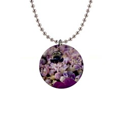 Flying Bumble Bee Mini Button Necklace