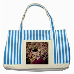 Flying Bumble Bee Blue Striped Tote Bag