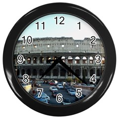 Roman Colisseum Black Wall Clock