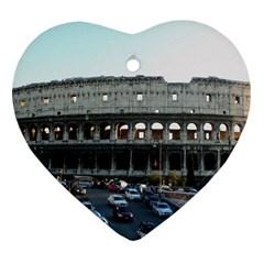 Roman Colisseum Heart Ornament (two Sides)