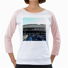 Roman Colisseum White Long Sleeve Raglan Womens  T Shirt