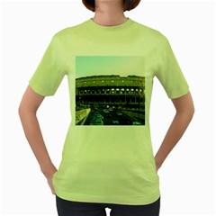 Roman Colisseum Green Womens  T-shirt