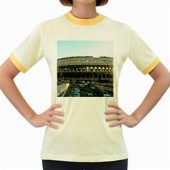 Roman Colisseum Colored Ringer Womens  T-shirt