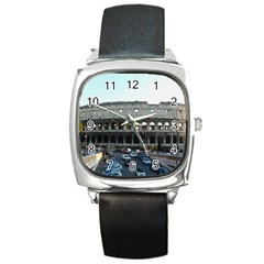 Roman Colisseum Black Leather Watch (Square)