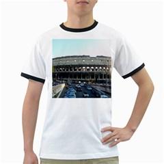Roman Colisseum White Ringer Mens'' T-shirt