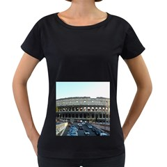 Roman Colisseum Black Oversized Womens'' T Shirt