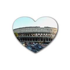 Roman Colisseum 4 Pack Rubber Drinks Coaster (Heart)
