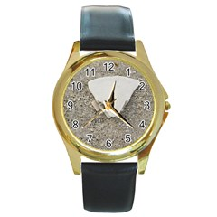 Quarter of a Sand Dollar Black Leather Gold Rim Watch (Round)