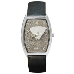 Quarter of a Sand Dollar Black Leather Watch (Tonneau)