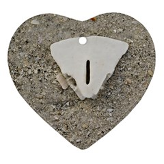 Quarter of a Sand Dollar Heart Ornament (Two Sides)