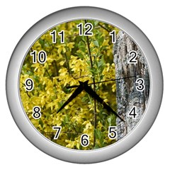 Yellow Bells Silver Wall Clock