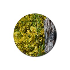 Yellow Bells Rubber Drinks Coaster (round)