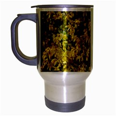 Yellow Bells Brushed Chrome Travel Mug
